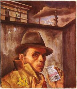 """Self Portrait with Jewish Identity Card"" by Felix Nussbaum (1942, when he was living in hiding in Brussels with his wife)"