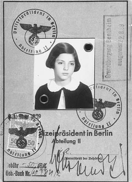 Passport issued to Gertrud Gerda Levy, who left Germany in August 1939 on a Kindertransport to Great Britain. Berlin, Germany, August 23, 1939. Source: US Holocaust Memorial Museum
