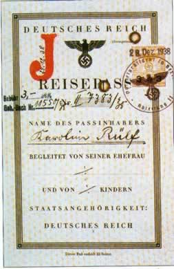 "German Passport (1939) containing the red letter ""J"", identifying the holder of this passport as being Jewish."