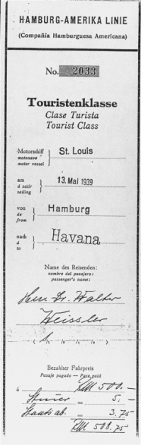"Boarding pass for Dr. Walter Weissler for a voyage on the ""St. Louis"" from Hamburg to Havana. When Cuban authorities refused the passengers entry, Weissler returned to France, where he survived in hiding. He died in Paris in 1996. Hamburg, Germany. Date of pass, May 13, 1939. Source: US Holocaust Memorial Museum"