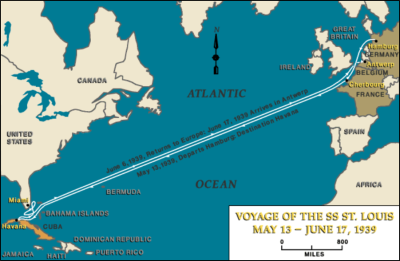 "Voyage of the ""St. Louis,"" May 13-June 17, 1939. Source: US Holocaust Memorial Museum"