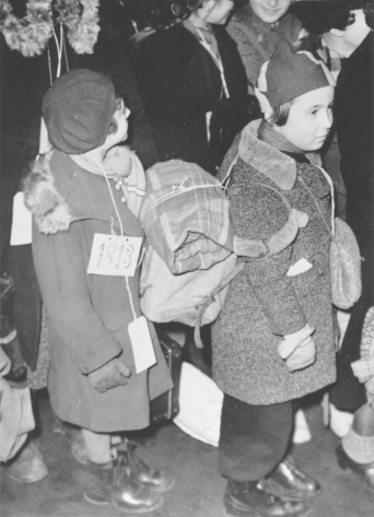 Two Jewish refugee girls in transit through the Netherlands in D